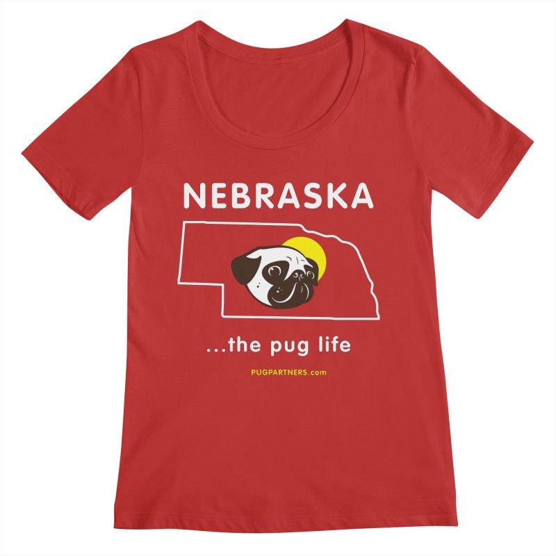 Nebraska: The Pug Life Women's Regular Scoop Neck by Pug Partners of Nebraska