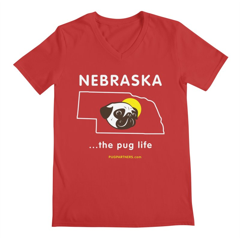 Nebraska: The Pug Life Men's Regular V-Neck by Pug Partners of Nebraska