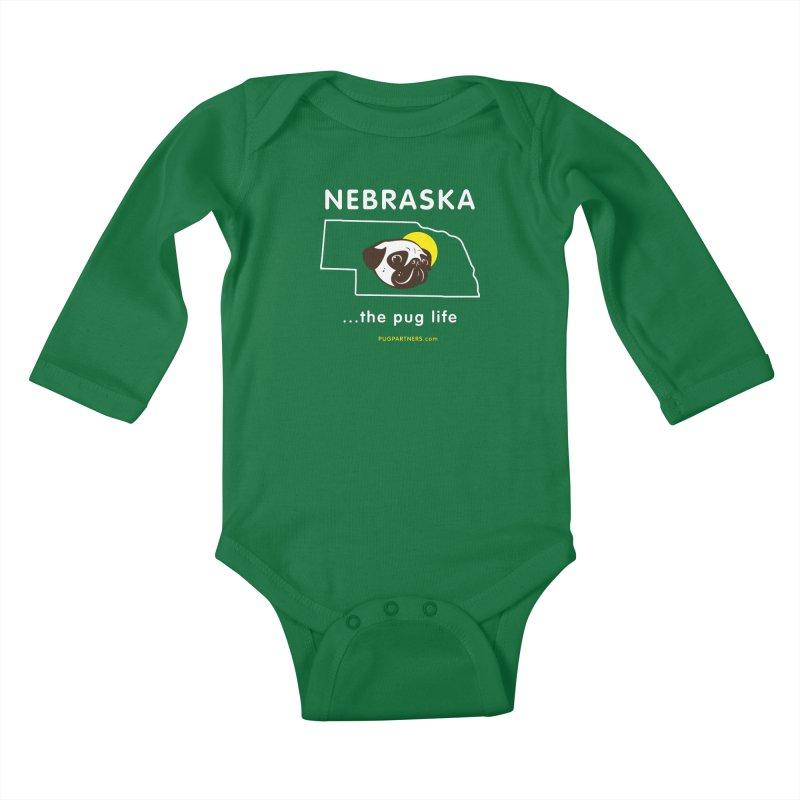 Nebraska: The Pug Life Kids Baby Longsleeve Bodysuit by Pug Partners of Nebraska