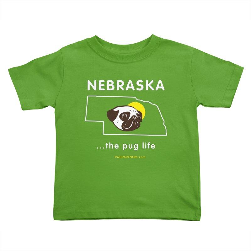 Nebraska: The Pug Life Kids Toddler T-Shirt by Pug Partners of Nebraska