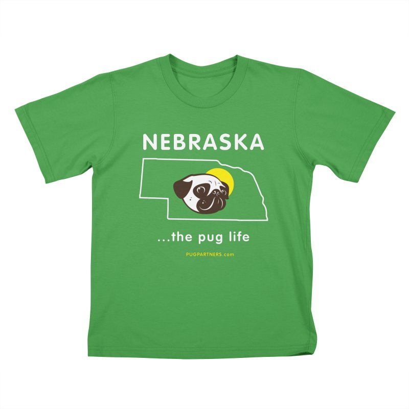Nebraska: The Pug Life Kids T-Shirt by Pug Partners of Nebraska