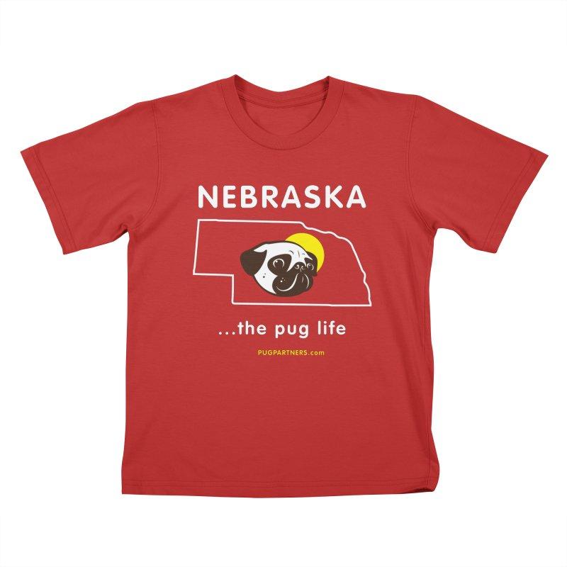 Nebraska: The Pug Life Kids T-Shirt by Pug Partners of Nebraska