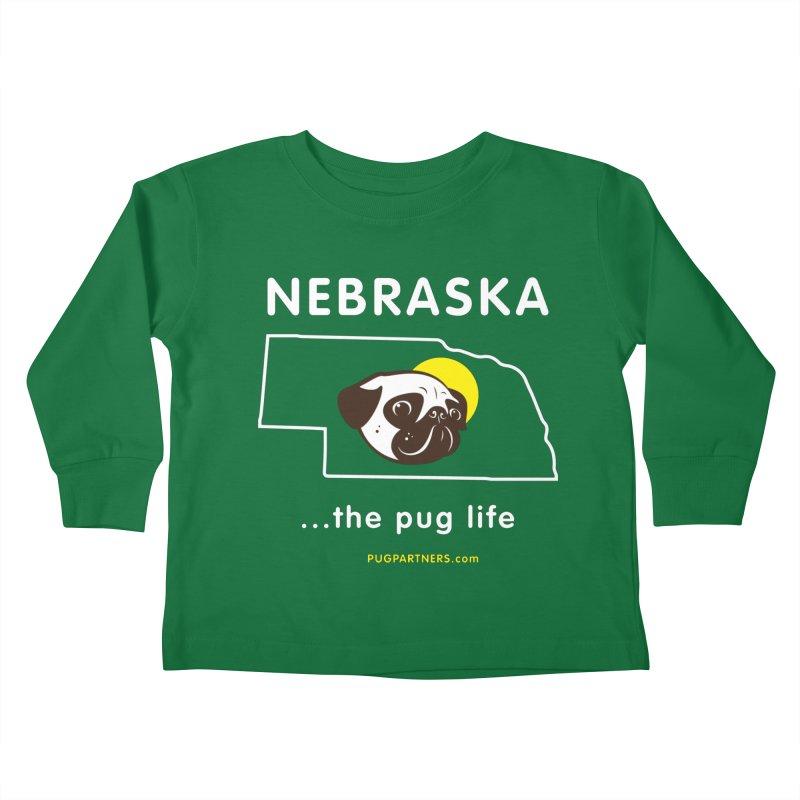 Nebraska: The Pug Life Kids Toddler Longsleeve T-Shirt by Pug Partners of Nebraska