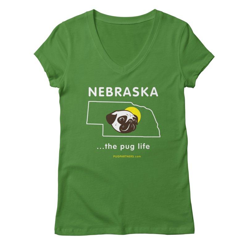 Nebraska: The Pug Life Women's V-Neck by Pug Partners of Nebraska