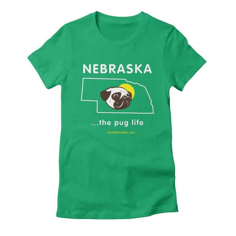 Nebraska: The Pug Life Women's Fitted T-Shirt by Pug Partners of Nebraska