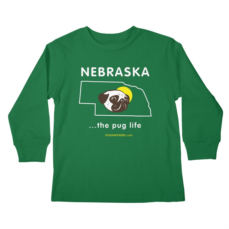 Nebraska: The Pug Life Kids Longsleeve T-Shirt by Pug Partners of Nebraska