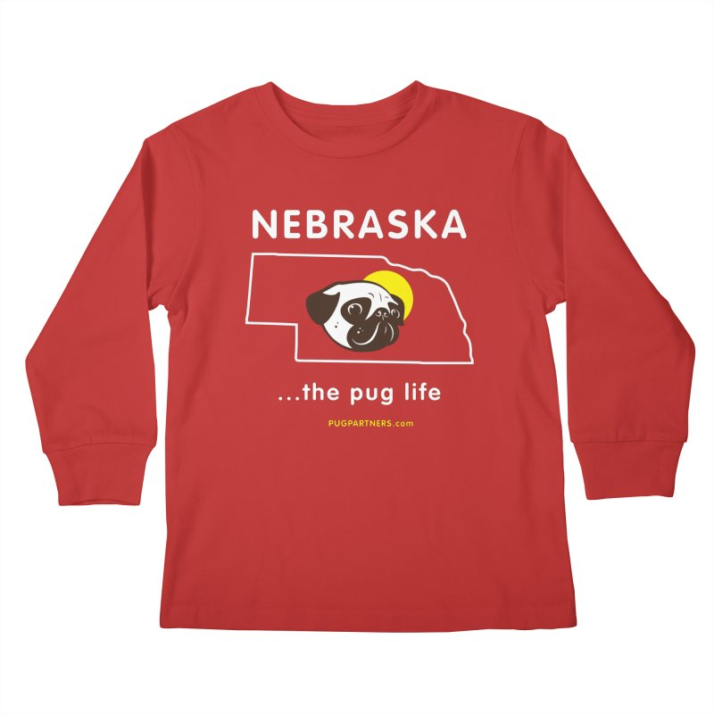Nebraska: The Pug Life Kids Longsleeve T-Shirt by Pug Partners of Nebraska