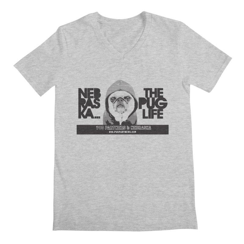 The Pug Life Men's Regular V-Neck by Pug Partners of Nebraska