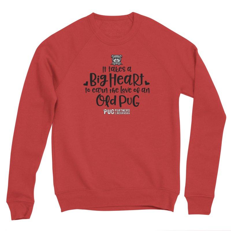 Big Heart for an Old Pug Men's Sponge Fleece Sweatshirt by Pug Partners of Nebraska
