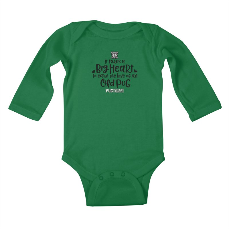 Big Heart for an Old Pug Kids Baby Longsleeve Bodysuit by Pug Partners of Nebraska