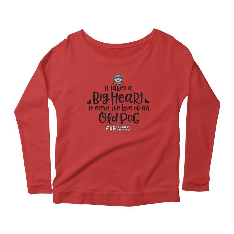 Big Heart for an Old Pug Women's Scoop Neck Longsleeve T-Shirt by Pug Partners of Nebraska