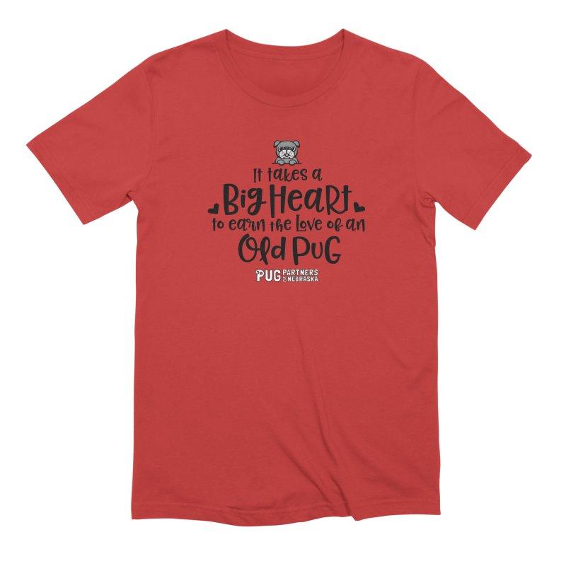 Big Heart for an Old Pug Men's T-Shirt by Pug Partners of Nebraska
