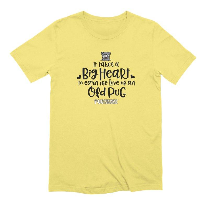 Big Heart for an Old Pug Men's Extra Soft T-Shirt by Pug Partners of Nebraska