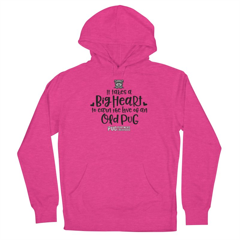 Big Heart for an Old Pug Women's French Terry Pullover Hoody by Pug Partners of Nebraska