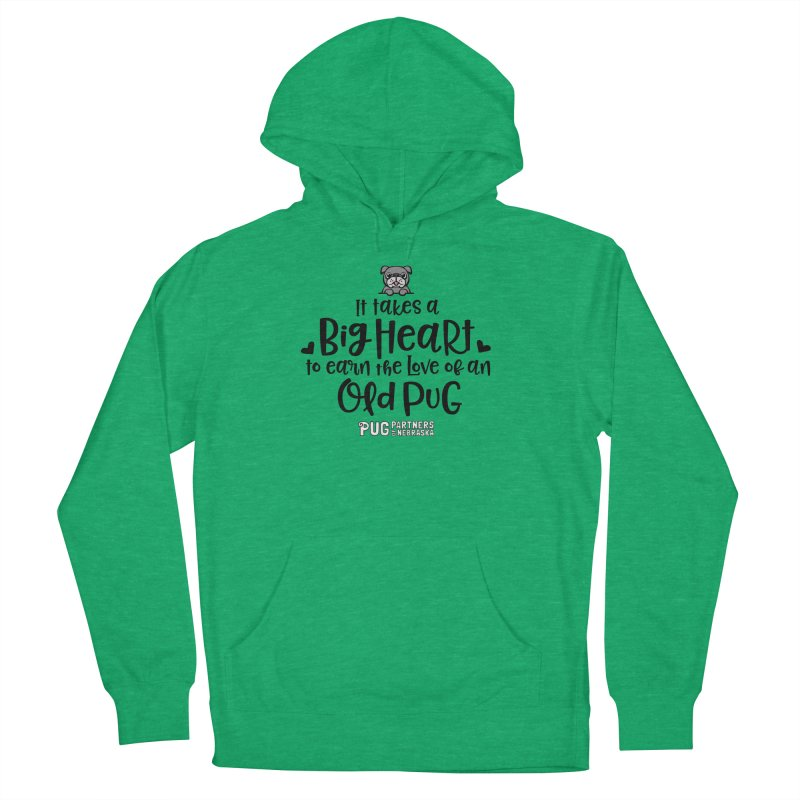Big Heart for an Old Pug Men's French Terry Pullover Hoody by Pug Partners of Nebraska