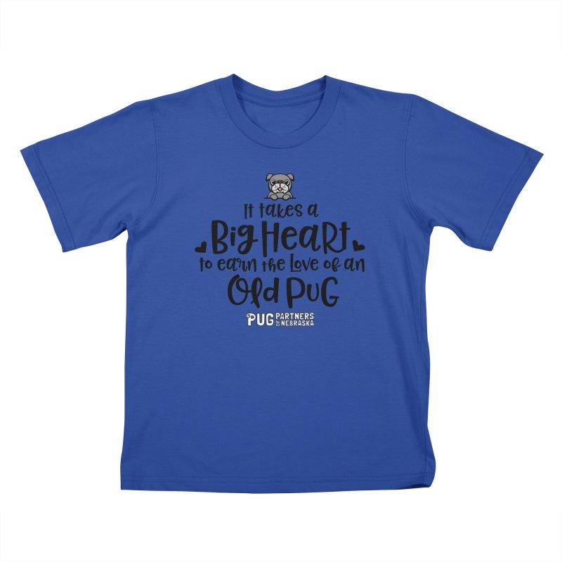 Big Heart for an Old Pug Kids T-Shirt by Pug Partners of Nebraska