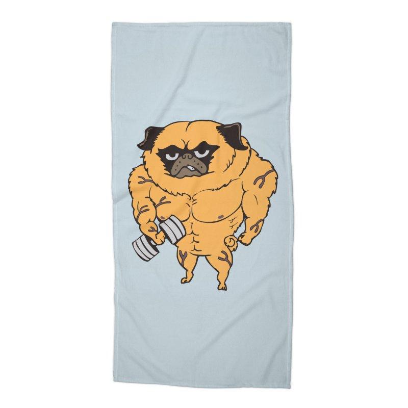 Buff Pug Accessories Beach Towel by Pugs Gym's Artist Shop