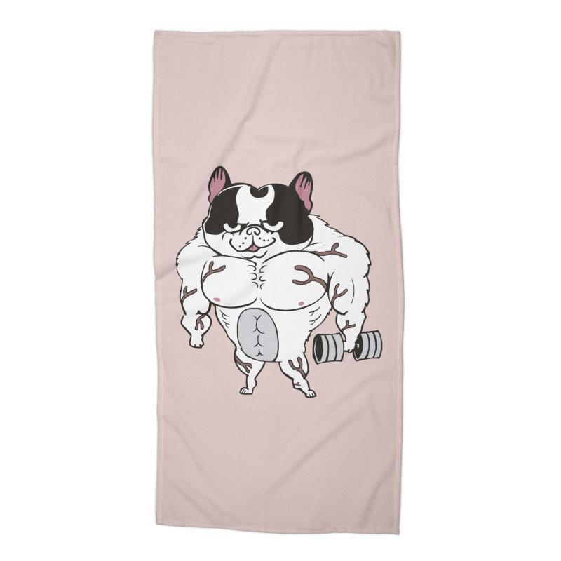 Buff Frenchie Accessories Beach Towel by Pugs Gym's Artist Shop
