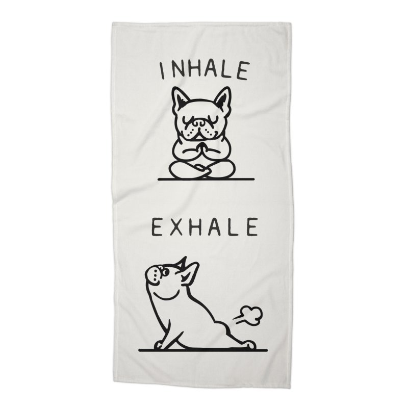 Inhale Exhale French Bulldog Accessories Beach Towel by Pugs Gym's Artist Shop