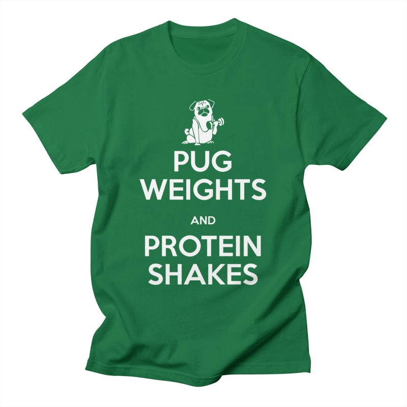 Pug Weights and Protein Shakes Men's T-Shirt by Pugs Gym's Artist Shop