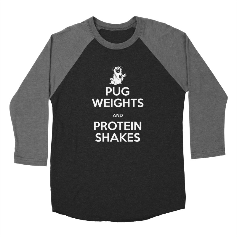 Pug Weights and Protein Shakes Women's Longsleeve T-Shirt by Pugs Gym's Artist Shop