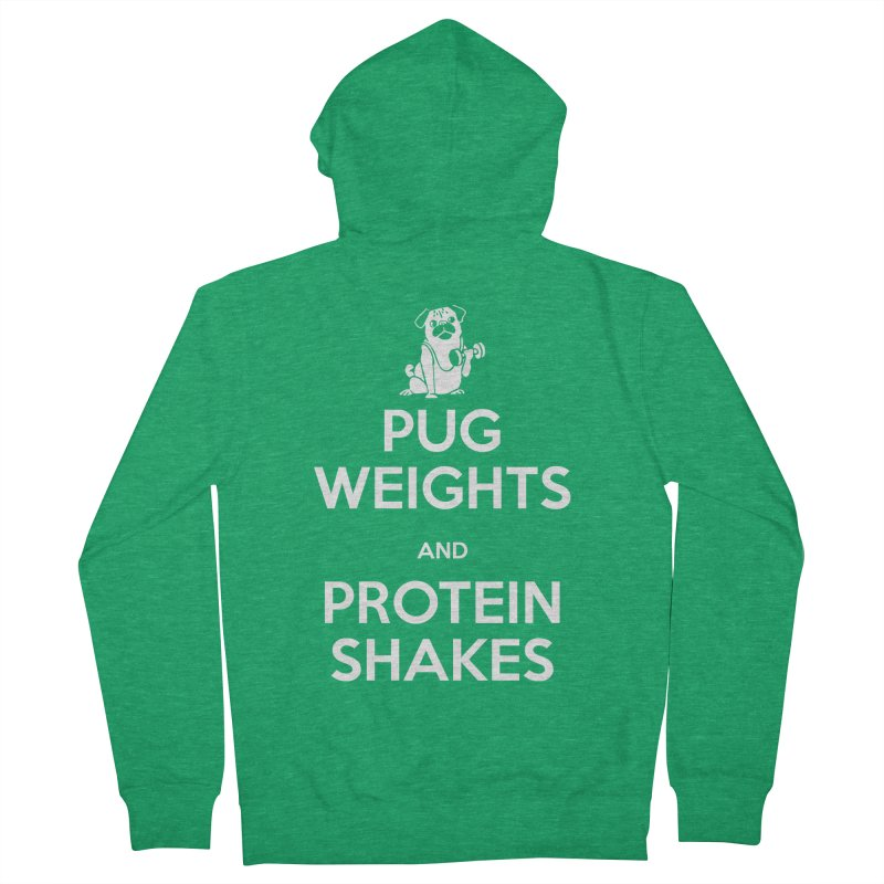 Pug Weights and Protein Shakes Women's Zip-Up Hoody by Pugs Gym's Artist Shop