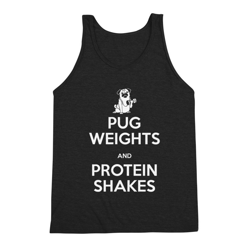 Pug Weights and Protein Shakes Men's Tank by Pugs Gym's Artist Shop