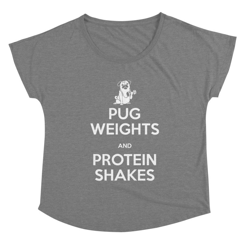 Pug Weights and Protein Shakes Women's Scoop Neck by Pugs Gym's Artist Shop