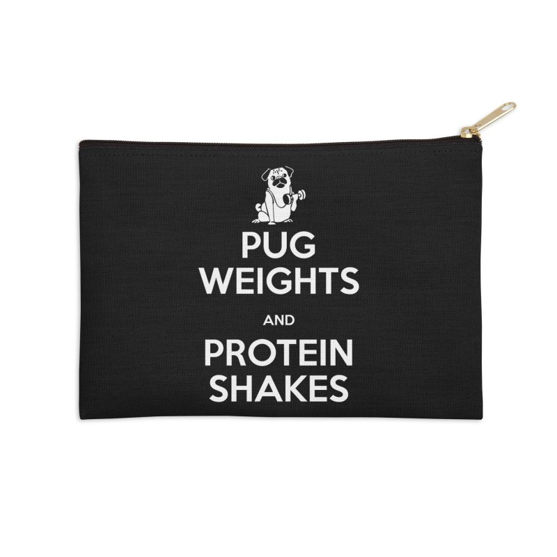 Pug Weights and Protein Shakes Accessories Zip Pouch by Pugs Gym's Artist Shop