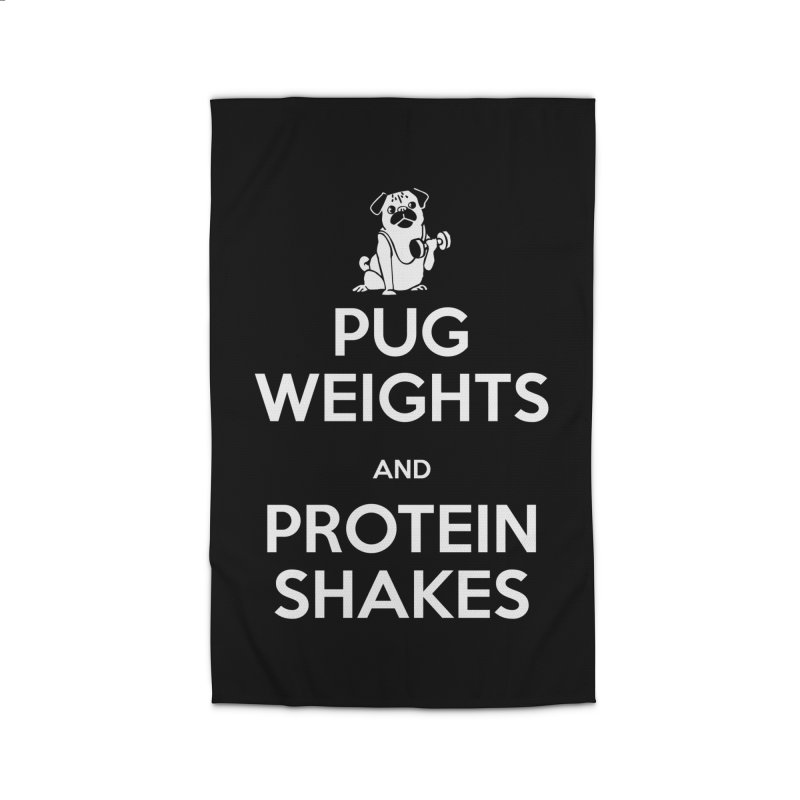 Pug Weights and Protein Shakes Home Rug by Pugs Gym's Artist Shop