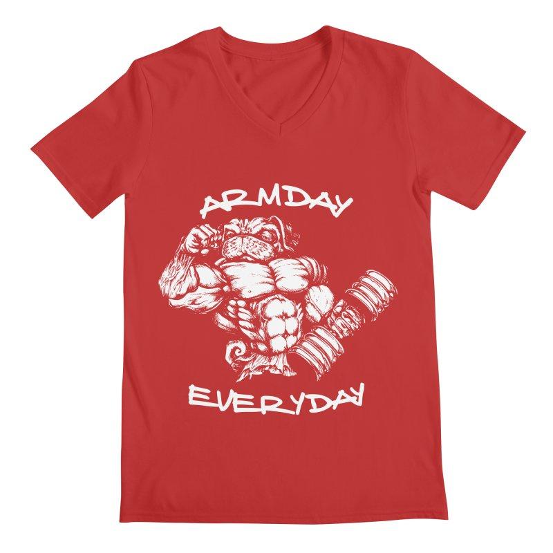 Arm Day Everyday Men's V-Neck by Pugs Gym's Artist Shop