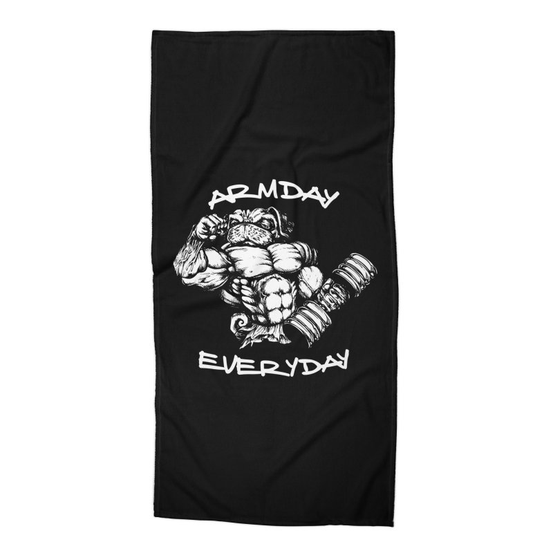 Arm Day Everyday Accessories Beach Towel by Pugs Gym's Artist Shop