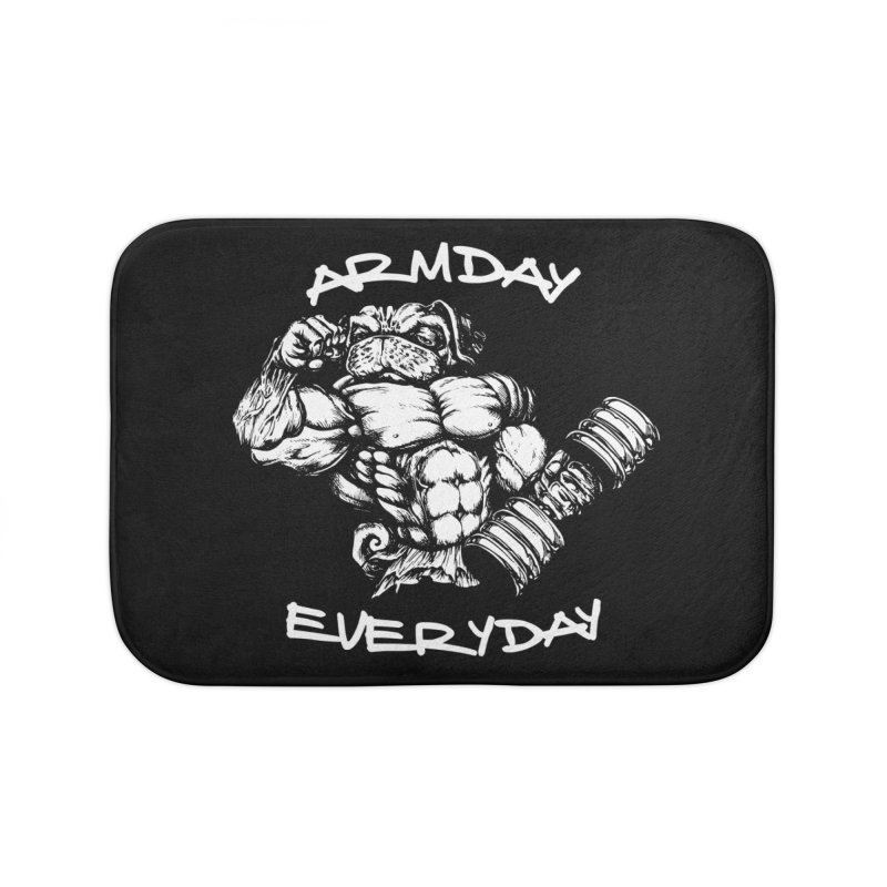 Arm Day Everyday Home Bath Mat by Pugs Gym's Artist Shop