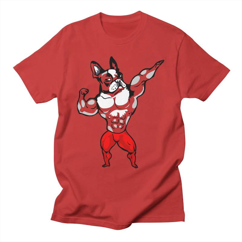 Boston Terrier Bodybuilder Men's T-Shirt by Pugs Gym's Artist Shop