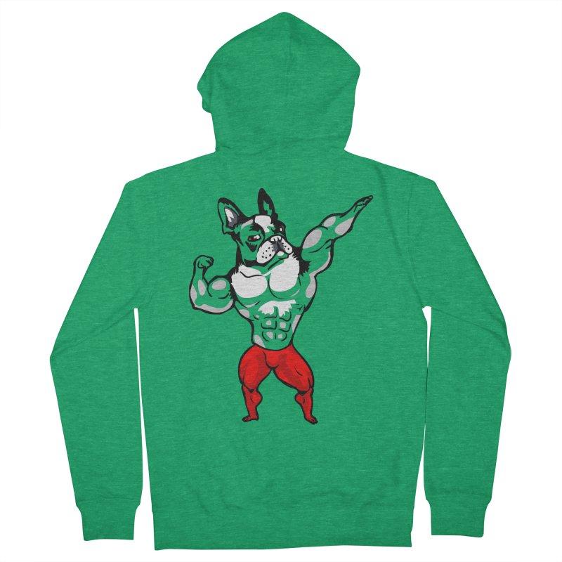 Boston Terrier Bodybuilder Men's Zip-Up Hoody by Pugs Gym's Artist Shop