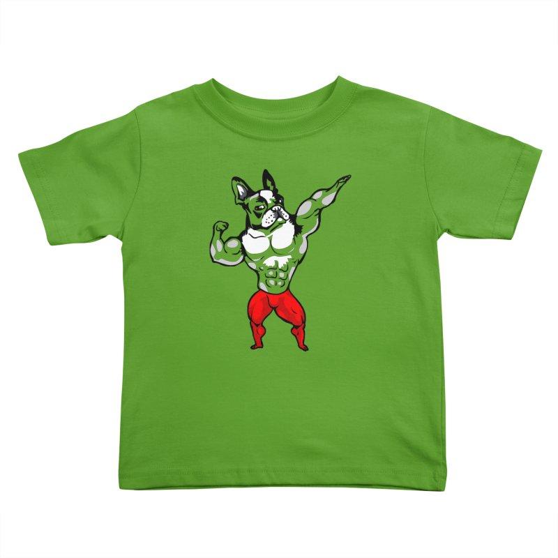 Boston Terrier Bodybuilder Kids Toddler T-Shirt by Pugs Gym's Artist Shop