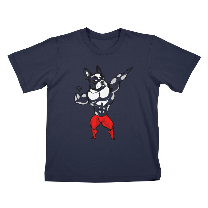 Boston Terrier Bodybuilder Kids T-Shirt by Pugs Gym's Artist Shop