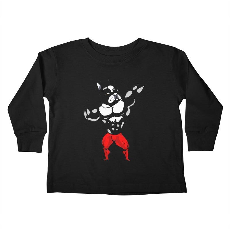 Boston Terrier Bodybuilder Kids Toddler Longsleeve T-Shirt by Pugs Gym's Artist Shop