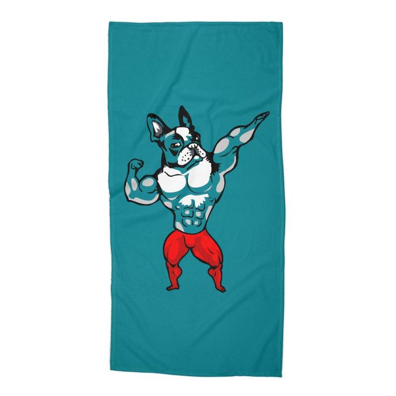 Boston Terrier Bodybuilder Accessories Beach Towel by Pugs Gym's Artist Shop