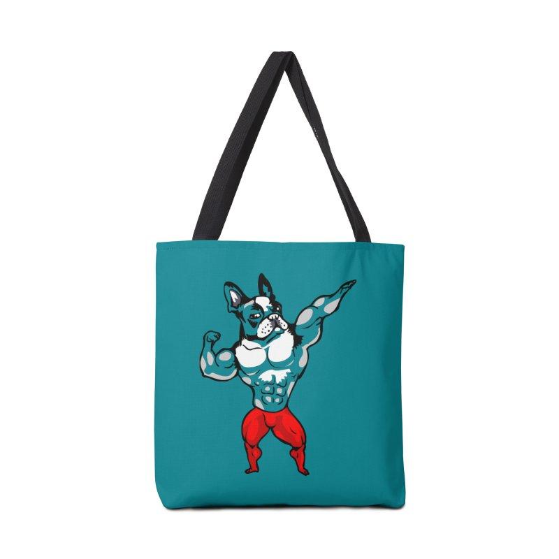 Boston Terrier Bodybuilder Accessories Bag by Pugs Gym's Artist Shop