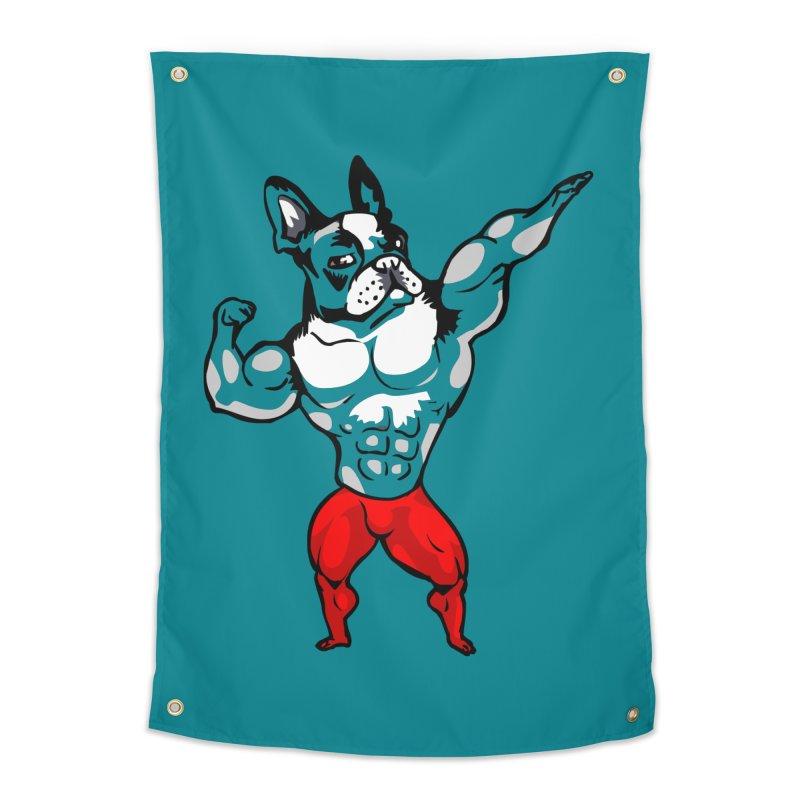 Boston Terrier Bodybuilder Home Tapestry by Pugs Gym's Artist Shop