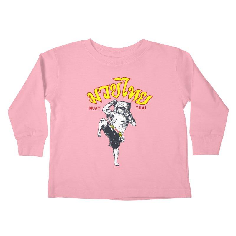 Pug Muay Thai Kids Toddler Longsleeve T-Shirt by Pugs Gym's Artist Shop