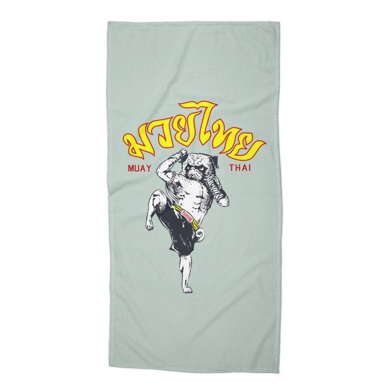 Pug Muay Thai Accessories Beach Towel by Pugs Gym's Artist Shop