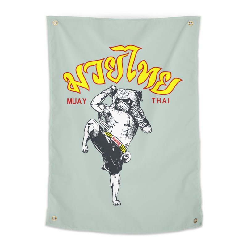Pug Muay Thai Home Tapestry by Pugs Gym's Artist Shop