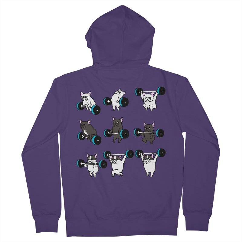 Olympic LIifting  French Bulldog Women's Zip-Up Hoody by Pugs Gym's Artist Shop
