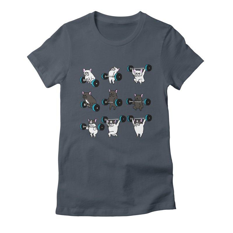 Olympic LIifting  French Bulldog Women's T-Shirt by Pugs Gym's Artist Shop