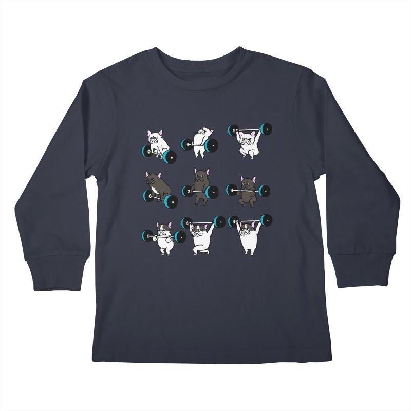 Olympic LIifting  French Bulldog Kids Longsleeve T-Shirt by Pugs Gym's Artist Shop