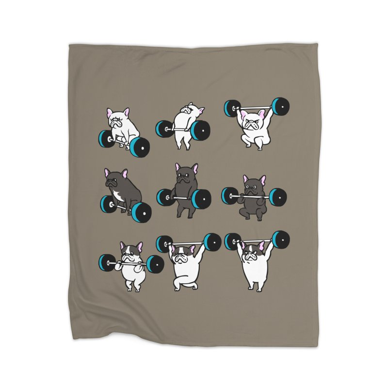 Olympic LIifting  French Bulldog Home Blanket by Pugs Gym's Artist Shop