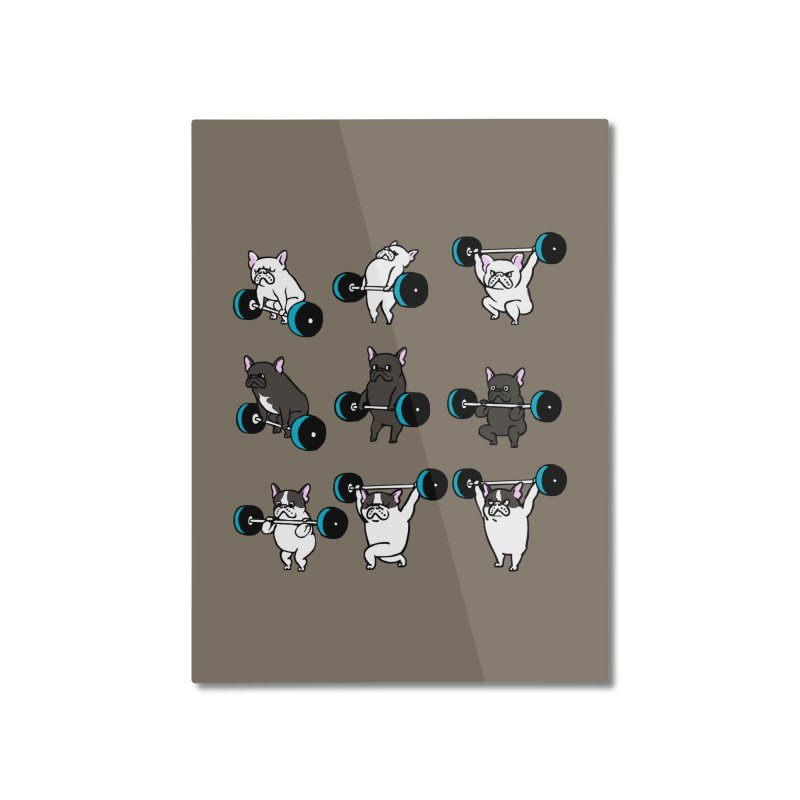 Olympic LIifting  French Bulldog Home Mounted Aluminum Print by Pugs Gym's Artist Shop