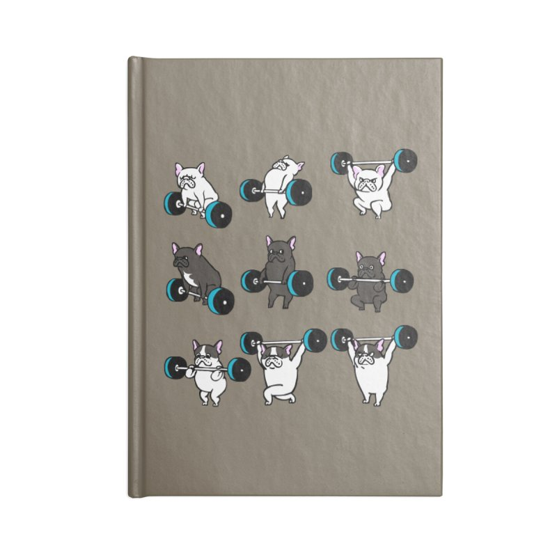 Olympic LIifting  French Bulldog Accessories Notebook by Pugs Gym's Artist Shop